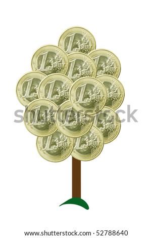 Money tree - Euros - stock photo
