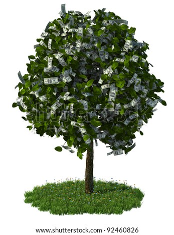 money tree, hundred dollar bills. Three dimensional rendering illustration. - stock photo