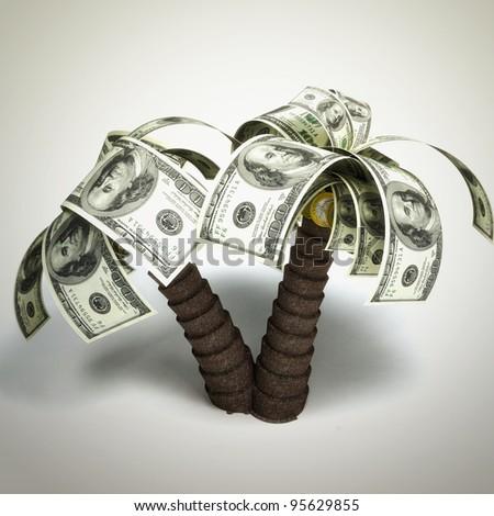money tree made of hundred dollar bills - stock photo