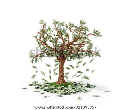 Money tree with bills growing on it and lying on white grownd. - stock photo