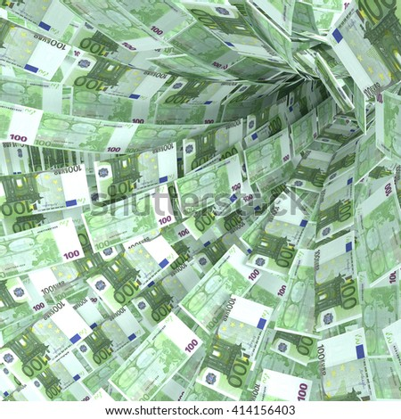 Money vortex of hundred euro notes 3D rendering - stock photo