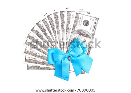 Money With Blue Ribbon - stock photo