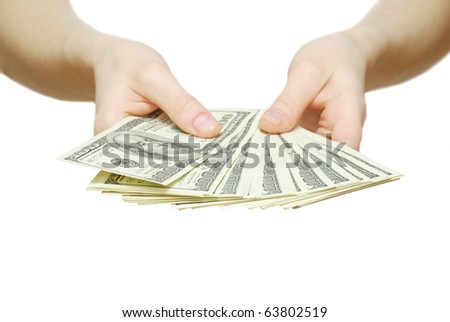 money with hand isolated on white - stock photo