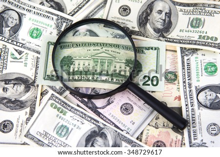 Money with magnifier - stock photo