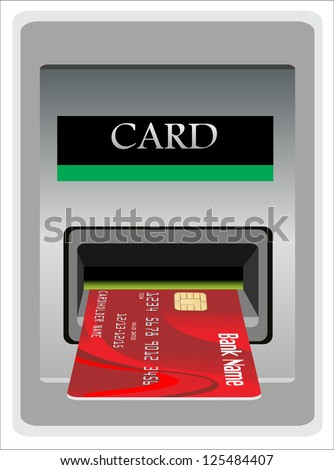 Money withdrawal. ATM and credit or debit card. - stock photo