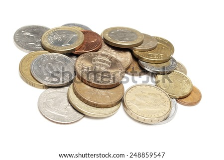 Money, World Currency and Foreign Coins, Gold and Silver  - stock photo