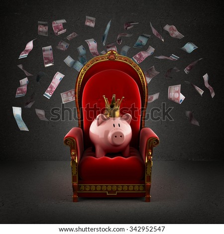 Moneybox pig in crown on the royal throne in the room with falling euro banknotes - stock photo