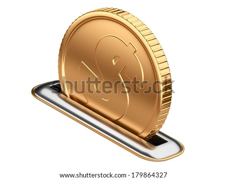 moneybox with dollar coin isolated on  a white background - stock photo