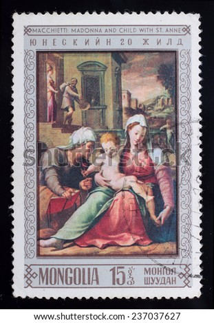 Mongolia - circa 1968: A post stamp printed in the Mongolian shows image of Macchietti - Madonna and child with St.Anne, series is dedicated to the 20 th anniversary of UNESCO, circa 1968. - stock photo