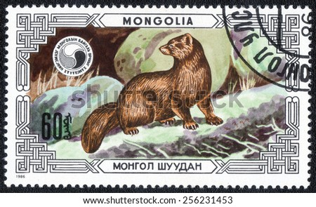 MONGOLIA - CIRCA 1986: A stamp printed in Mongolia shows animals , Common weasel, circa 1986  - stock photo