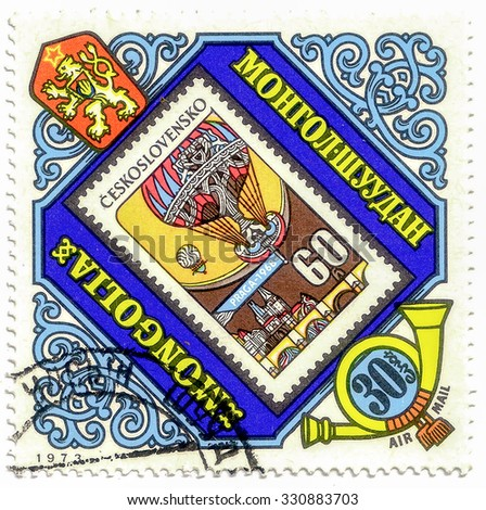 MONGOLIA - CIRCA 1973: A stamp printed in Mongolia shows Czech stamp with a balloon, circa 1973 - stock photo