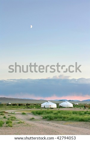 Mongolian landscape in the sunset - stock photo