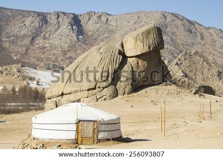 Mongolian yurt in the background stone turtle - stock photo