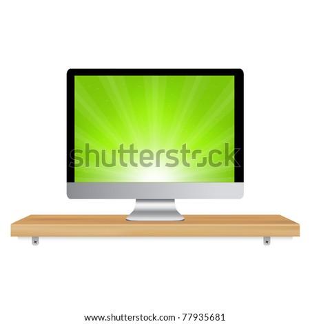 Monitor Icon Wooden Shelf, Isolated On White Background - stock photo