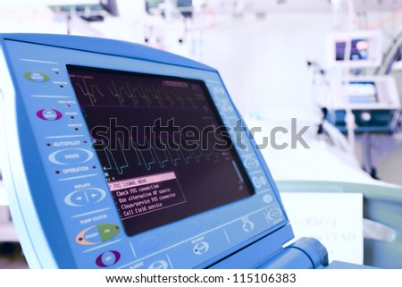 monitor in the modern clinic. stylized photo. - stock photo