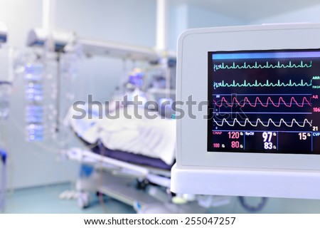 Monitor of clock surveillance patient in the ICU - stock photo