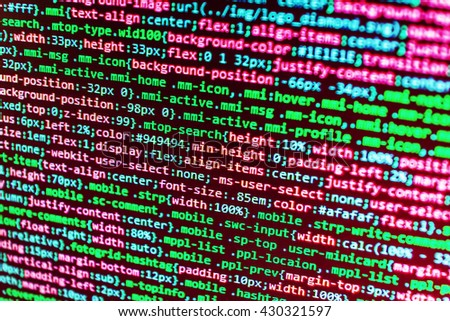 Monitor photo. Computer program. Abstract screen of software. Programmer occupation. Software source code. Software development. Developer working on software codes in office.   - stock photo