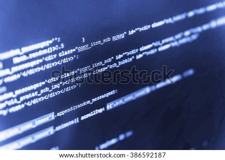 Monitor photo. Developer working on program codes in office. Computer script.  Computer program. Technology background. (Code is my own property there is no risk of copyright violations) - stock photo