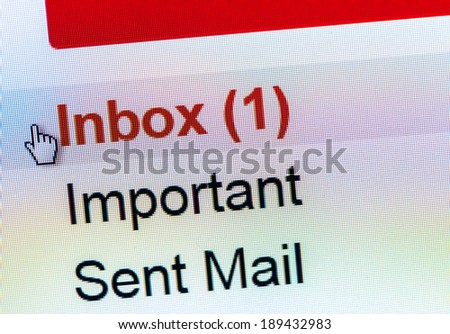Monitor screen showing email in the inbox - stock photo