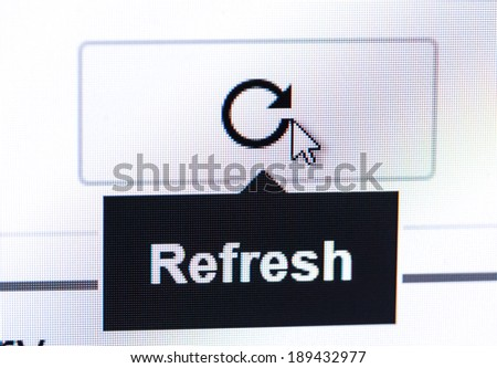 Monitor screen showing refresh buttom - stock photo