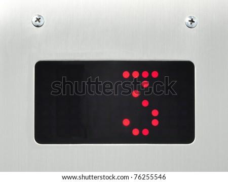 monitor show number 3 floor in elevator - stock photo