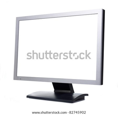 monitor with blank white sreen - stock photo