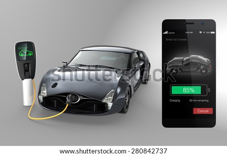 Monitoring electric car charging state by smart phone app . Clipping path available. - stock photo