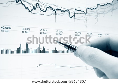 Monitoring of stock market graphs. - stock photo