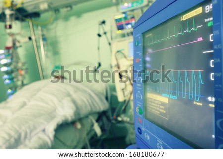 Monitoring of the patient in hospital - stock photo