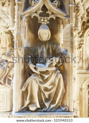monk in Alabaster carving,Carthusian monastery of burgos, Spain - stock photo