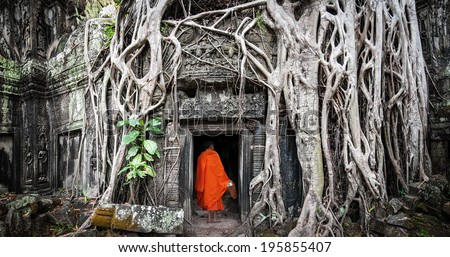 Monk in Angkor Wat Cambodia. Ta Prohm Khmer ancient Buddhist temple in jungle forest. Famous landmark, place of worship and popular tourist travel destination in Asia.  - stock photo