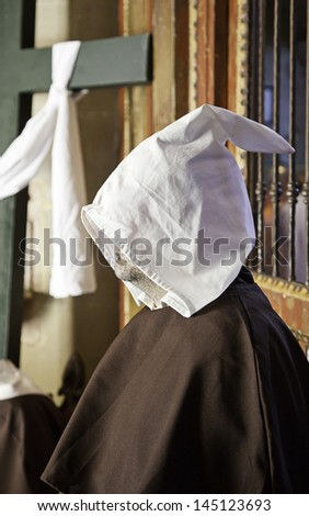 Monk of the Inquisition, religious detail of a Spanish monk, medieval - stock photo