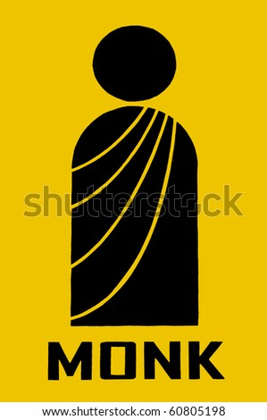 Monk symbol over yellow background - stock photo
