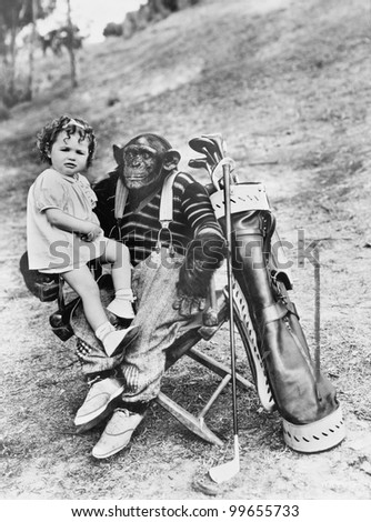 Monkey and golfclubs - stock photo