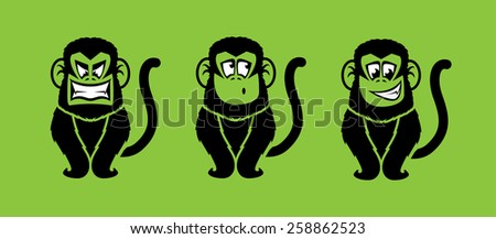 Monkey illustrations with various facial expressions - stock photo