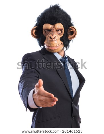Monkey man making a deal  - stock photo