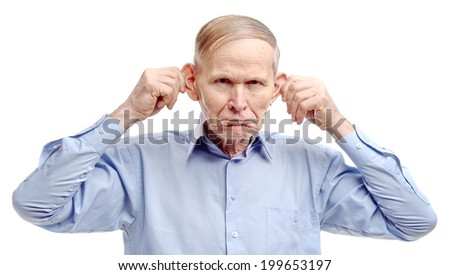 Monkey man. Man making monkey face. Senior man stretching his ears. Man making funny face.  - stock photo