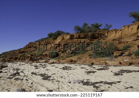 Monkey Mia Cliff Shark Bay Western Australia - stock photo