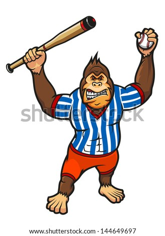 Monkey player with baseball elements for sport mascot design. Vector version also available in gallery - stock photo