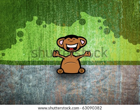 monkey sitting in jungle - stock photo