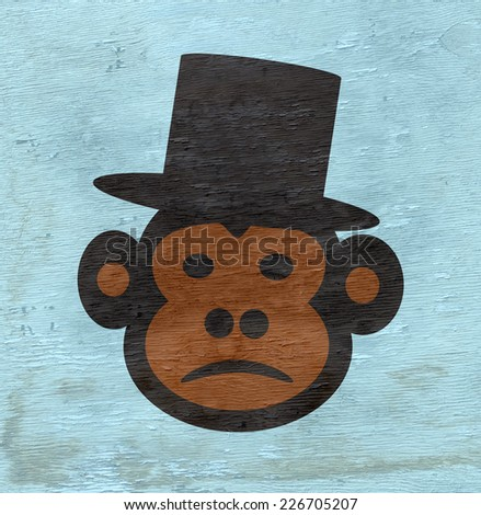 monkey with top hat design with wood grain texture - stock photo