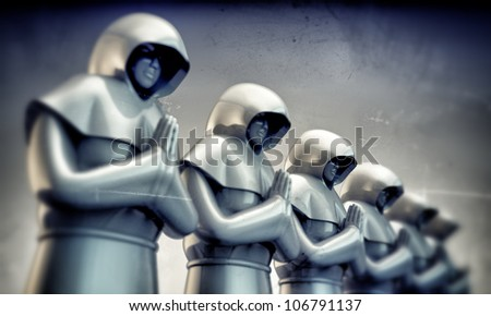 monks in old grunge photo - stock photo
