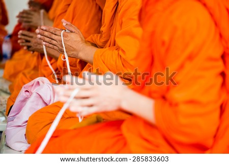 Monks of the religious rituals, Buddhist ceremony - stock photo