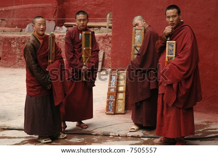 Monks. Tibet - stock photo