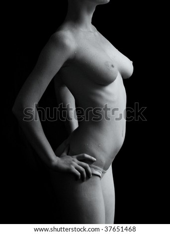 mono-color female upper body for medical use - stock photo