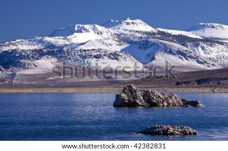 Mono Crater and Mono Lake - stock photo