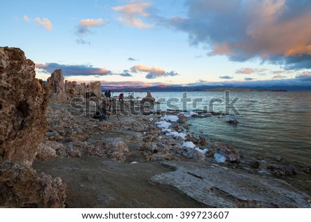 Mono Lake sunrise at the Tufas/Mono Lake/Watching the sunrise and moonset at Mono lake tufas - stock photo