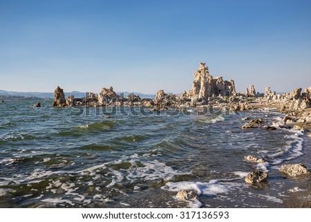Mono Lake with tufa rock in Mono County, California, USA - stock photo