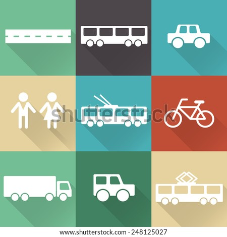 Monochromatic flat city elements with shades for creating your map. Map elements for your pattern, web site or other type of design. - stock photo