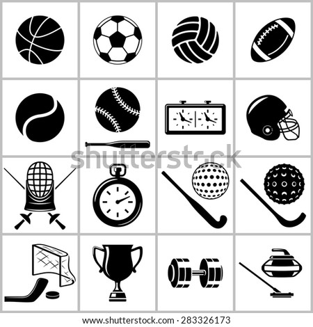 Monochromatic icons set of  some items and equipment for  sports. Raster version - stock photo